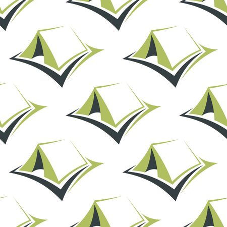 ridge: Tourist camp tents seamless pattern with stylized green pitched ridge tents on white background for textile or travel design