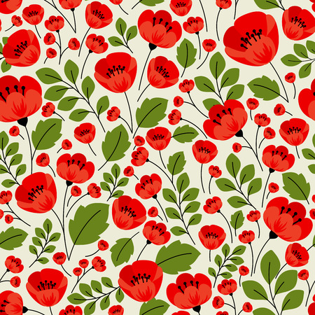 Red poppies seamless pattern in retro style with poppy flowers, lush petals and muted green foliage on beige background for textile or interior design