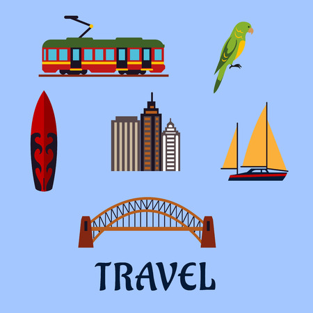 harbor: Australian travel concept with famous cultural, architectural and nature symbols as Harbour bridge and skyscrapers, yacht and surfboard, tram and eclectus parrot on blue background. Flat style Illustration