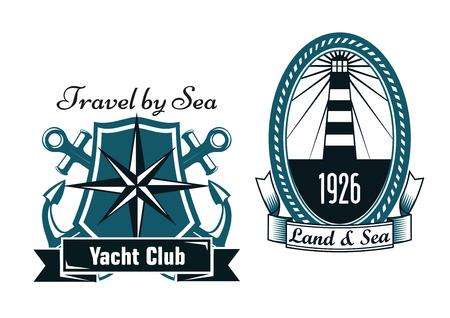 ovalo: Emblemas heráldicos marinos azules con faro viejo encerrado en marco ovalado, cuerda y compás náutico en el blindaje con las anclas cruzadas, banderas de la cinta decoradas con club de yates, Tierra y Mar de texto Vectores