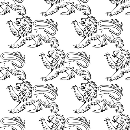 foreleg: Heraldic lions seamless pattern with outline profiles of lions with raised foreleg on white background for textile or heraldry design