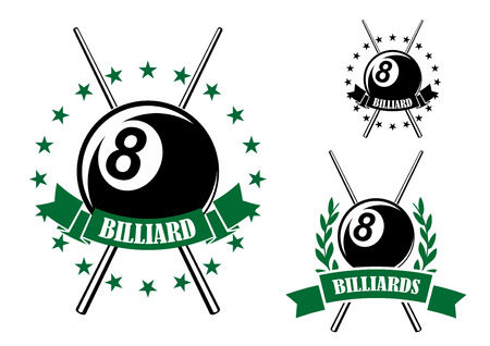 pool cues: Billiards or pool retro emblems in green and black colors with eight ball and crossed cues encircled by ribbon banners, stars and laurel branches for sporting design
