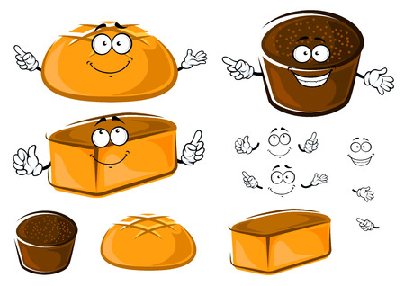 homemade bread: Fresh bakery products with homemade bread and round white wheat and brown rye loafs with funny faces for bakery shop  design