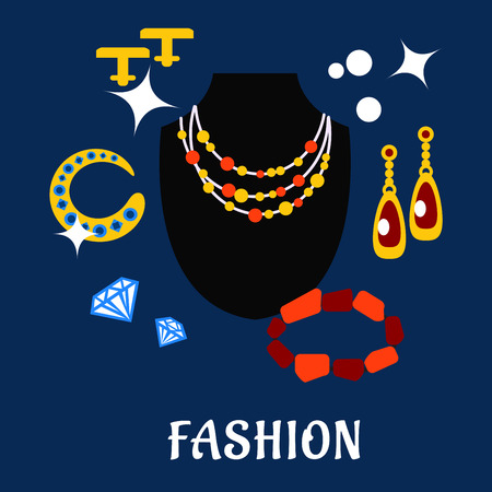 cufflink: Men and women fashion and jewelry flat icons with black dummy, colorful necklace, golden and shining long earrings, cufflinks, bracelets with red and blue gemstones, diamonds Illustration
