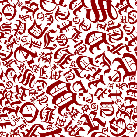 randomly: Seamless pattern of randomly scattered gothic letters with medieval calligraphy elements on white background, for background or textile design