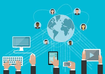 Red de medios sociales y el concepto de comunicación global en el estilo plano con las manos usando ordenador ordenadores de sobremesa, teléfonos inteligentes y tabletas con flujos de datos y globo rodeado avatares de usuario