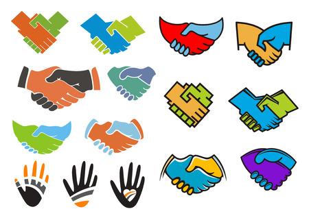 manos estrechadas: Apretones de manos de asociaci�n de negocios o de amistad y da s�mbolos incluidos apret�n de manos de colores de fondo, siluetas de palmeras con tiras y muestra del coraz�n adecuadas para el dise�o de negocios o concepto de comunicaci�n Vectores