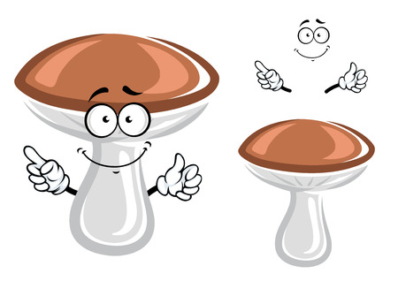 mushroom cartoon: Funny forest boletus mushroom cartoon character with convex brown cap and club shaped stipe, for natural or vegetarian food concept design Illustration