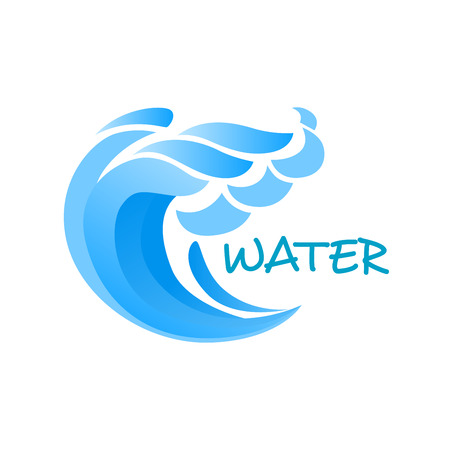 billow: Billowing blue wave or ocean surf with splashes emblem or logo template isolated on white background for nature concept design