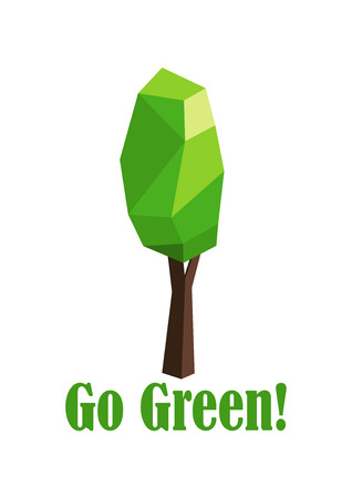 elongated: Polygonal tree with elongated crown with text Go Green for environment protection or ecology concept design