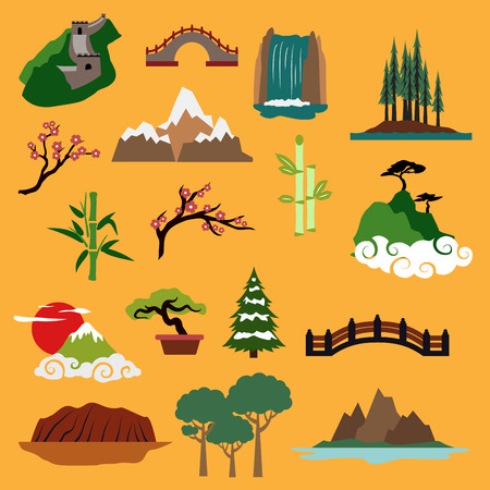 australia jungle: Famous nature landscapes and buildings of China, Japan, Canada, USA, Australia with Great Wall, ancient bridges, waterfall, trees of rainforest, mountains, blooming sakura, bamboo, bonsai for travel design Illustration