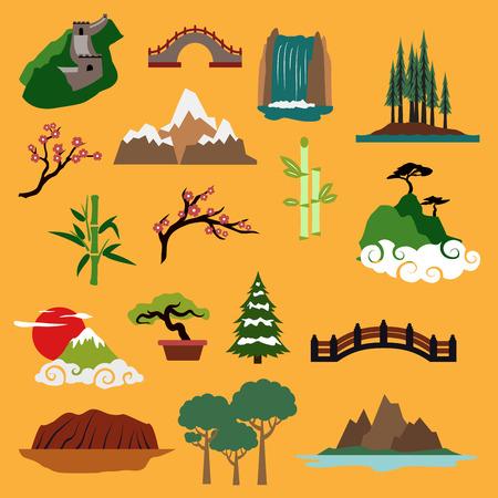 Paisajes de la naturaleza y edificios famosos de China, Japón, Canadá, EE.UU., Australia con la Gran Muralla, puentes antiguos, cascada, árboles de la selva, las montañas, sakura en flor, el bambú, bonsai para el diseño de viajes