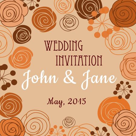 buttercups: Wedding invitation or card design template in brown orange pastel colors with floral border composed of stylized blooming roses, persian buttercups and berry branches with editable text in the center