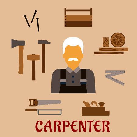 serrucho: Concepto plana profesi�n carpintero con el hombre bigotudo con un mono, madera y herramientas de carpinter�a incluyendo martillos, hacha, clavos, caja de herramientas de madera, serrucho, sierra, metro plegable, garlopa