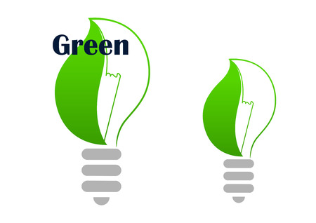 covering: Ecology green light bulb abstract symbol with curved spring leaf covering lamp,  for ecological and environment design Illustration