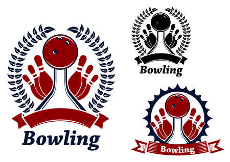 lanes: Bowling balls crashing ninepins on lanes, decorated ribbon banners, laurel wreath or frame with sun beams, for bowling club emblem