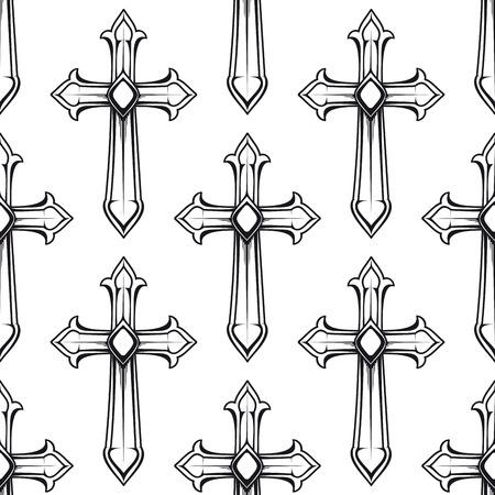 cruz religiosa: Cruces religiosas vintage en modelo inconsútil blanco y negro con motivo repetido de crucifijo de tela o diseño heráldico