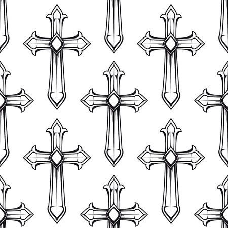 religious backgrounds: Vintage religious crosses in black and white seamless pattern with repeated motif of crucifix for fabric or heraldic design