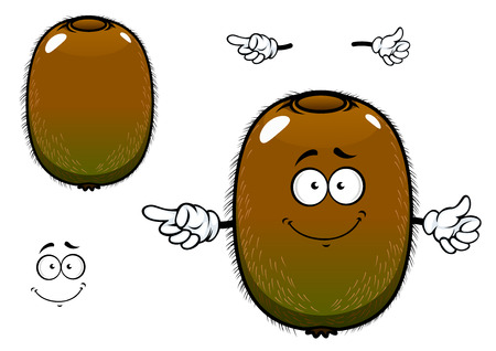 greenish: Ripe kiwi fruit cartoon character with greenish brown fuzzy skin and pointing hand gesture, for agriculture or fresh food design Illustration