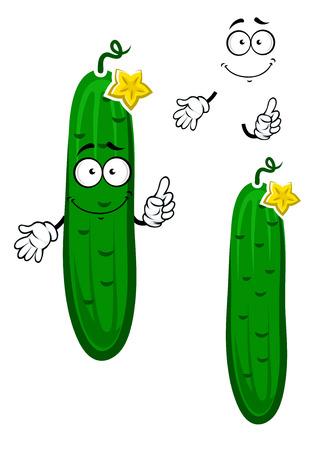 pepino caricatura: Pepino vegetal personaje de dibujos animados verde crujiente con espinas esparcidas pequeñas, tallo rizado y flor amarilla en la parte superior, para la agricultura o el diseño de la comida sana