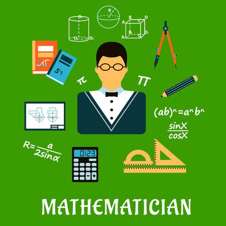 maestro: Concepto de profesi�n matem�tico con el maestro en copas rodeado por f�rmulas, calculadora, reglas, compases, l�pices, libros de texto, el dibujo y figuras geom�tricas