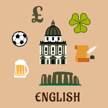 Great Britain historical and cultural travel concept with stonehenge, st Pauls cathedral, pound sterling sign, football ball, ale mug, scroll with feather and clover leaf