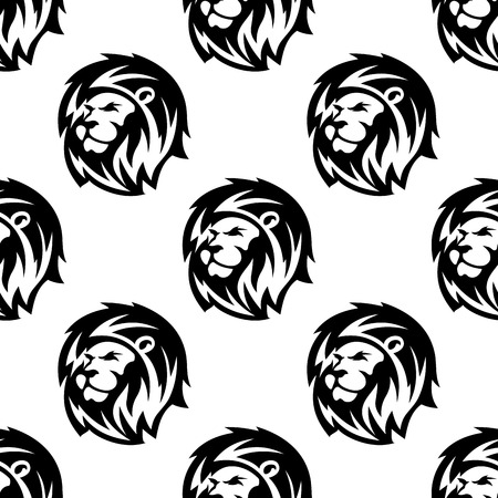 Black and white african heraldic lion heads seamless pattern background in outline sketch style with shaggy mane and proud gaze Vectores
