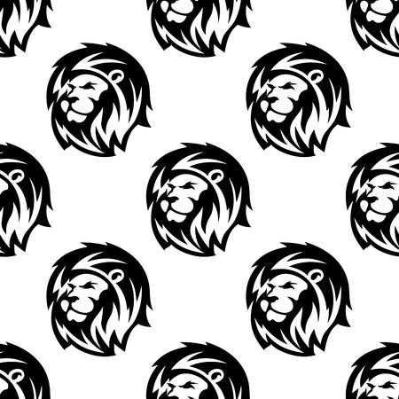 Białe i czarne afrykańskie heraldyczne głowy lwa szwu tło w stylu szkicu zarys kudłaty grzywy i dumny wzrok