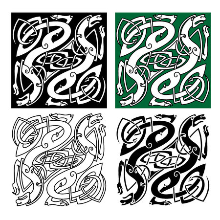 mythical: Abstract celtic dragons with tribal stylized entwined wings and long tails on white, green and black backgrounds for tattoo or religious design Illustration