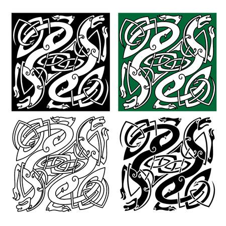 nudos: Dragones c�lticos abstractos con tribales alas entrelazadas estilizadas y largas colas en los fondos blancos, verdes y negras para tatuaje o dise�o religioso