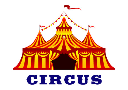 Circus red and yellow striped tent in retro style, with flags on the tops of the domes, isolated on white background for carnival or entertainment design