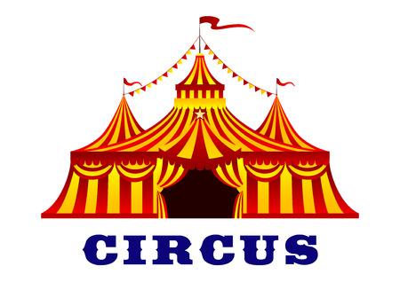 Circus rood en geel gestreepte tent in retro-stijl, met vlaggen op de toppen van de koepels, geïsoleerd op een witte achtergrond voor carnaval of entertainment ontwerp Stockfoto - 41049431