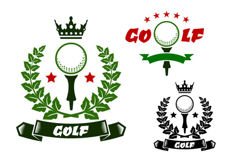 Golf ball on tee for sporting emblems or badges design, framed by laurel wreath and ribbon banners with stars and crown on the tops in green, red and black colors