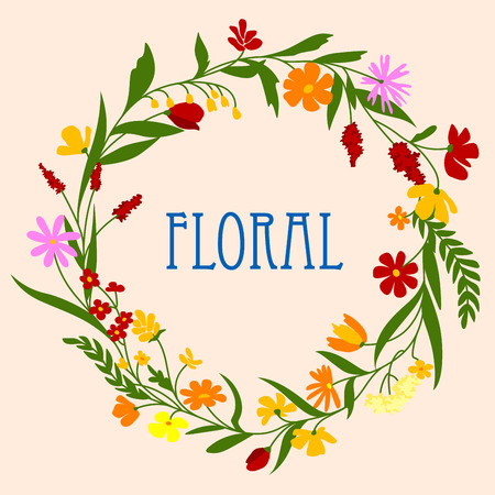 arranged: Delicate flowers and herbs foliage arranged in a shape of the round wreath for greeting card or invitation design Illustration