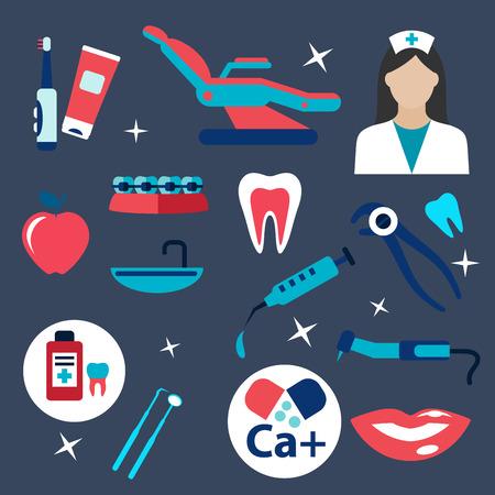 sillon dental: Iconos planos Odontolog�a con dentista en uniforme, instrumentos dentales, silla, jeringa, aparatos ortop�dicos, calcio, sonrisa con dientes, cepillo de dientes y pasta, manzana, la medicaci�n y la secci�n transversal de los dientes