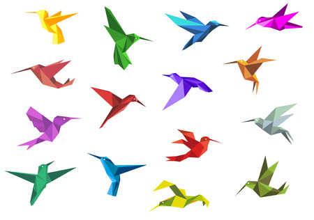 Flying origami paper hummingbirds or colibri isolated on white background, suitable for nature or logo design Çizim