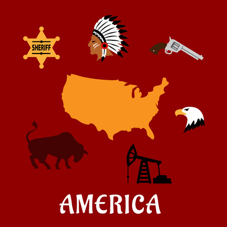 famous star: American famous cultural and historical flat icons with map of the USA, sheriff star, injun leader in feather headdress, revolver, american bald eagle, pump jack and bull on red background Illustration