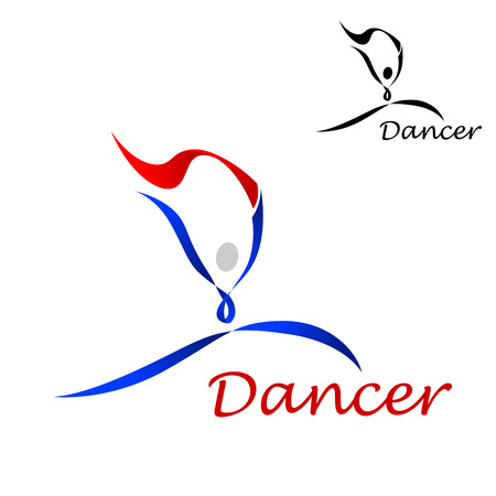 smaller: Dancer sporting emblem with dancing abstract figure of curling blue and red lines on white background with smaller black duplicate in the upper corner