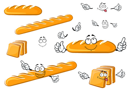 Fresh baked white long loaf, baguette and toast bread cartoon characters with cheerful funny faces isolated on white background for bakery shop design