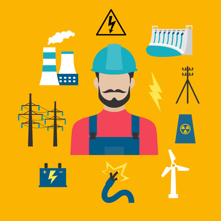electrical safety: Electricity power industry flat concept design with electric stations of heat, hydro and wind energy, nuclear power plant, power lines and pylon, battery and danger warning sign with professional electrician in a helmet
