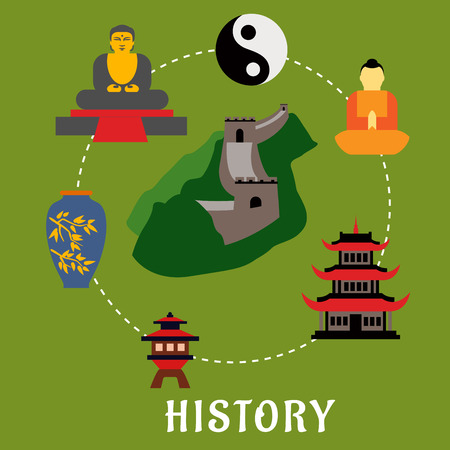 great wall of china: Chinese historical landmarks and religion icons in flat style showing top view of Great Wall of China encircled by symbol of harmony yin yang, buddhist monk, ancient temple, antique porcelain vase and big buddha golden statue