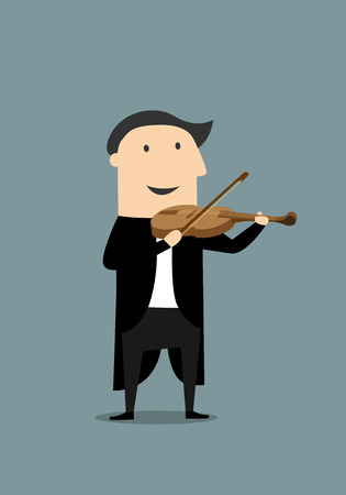 tailcoat: Smiling musician in elegant black tailcoat playing a violin. Cartoon flat style, suitable for music or comics concept design