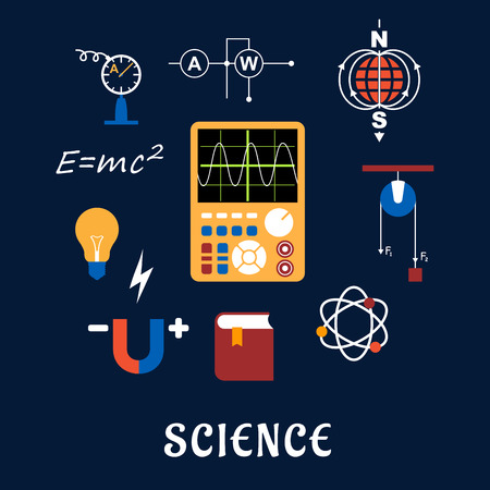 field study: Science flat icons set with symbols of physics such as magnet, electric power, atom model, Earth magnetic field, book, formulas, schemes and tools. For education or scientifical concept design