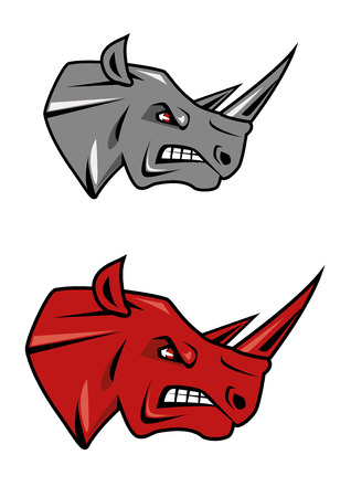 glaring: Angry rhino head with evil grin and glaring red eyes in gray or red color variations for tattoo or sporting mascot design