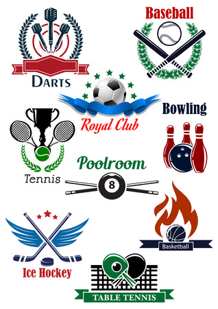 attributes: Sporting emblems templates for darts, baseball, soccer or football, bowling, tennis, billiards, ice hockey, basketball and table tennis with game equipments, attributes, heraldic elements