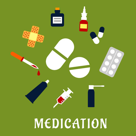 a tablet blister: Medication flat concept with medicament drugs icons such as capsules and blister of pills, nose and throat sprays, syringe, drops bottle and dropper, sticking plaster, ointment tube Illustration
