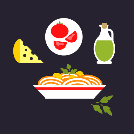 Italian pasta in flat style depicting spaghetti with cheese, tomato, olive oil and parsley on dark gray background for national cuisine concept or restaurant menu design