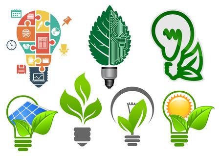 Ecologie gloeilampen symbolen met abstracte lampen, computer moederbord, groene bladeren, zon, zonnepanelen en zakelijke iconen puzzel, voor milieu en energie besparen conceptontwerp Vector Illustratie