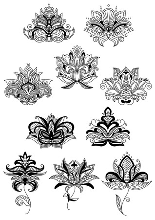 bloom: Indian stylized floral design elements with black paisley flowers and lush bloom, decorated in ethnic ornament. Isolated on white background