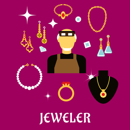 bracelets: Jeweler or goldsmith profession concept design with man in professional glasses, luxury jewelries such as fancy earrings, ring and pendant with red gems, chain, bracelets, shining jewels